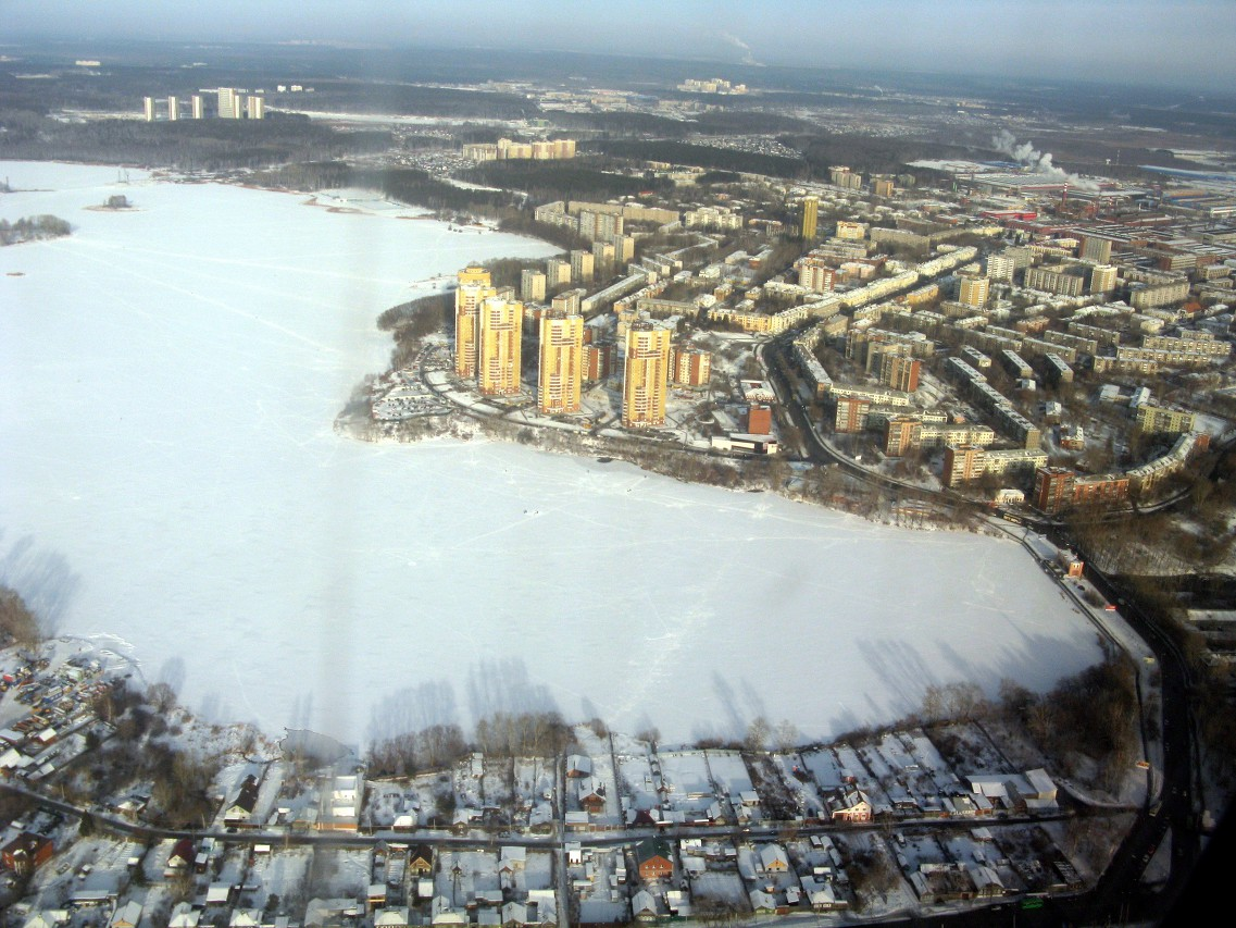 The surroundings of Yekaterinburg, the view from the plane