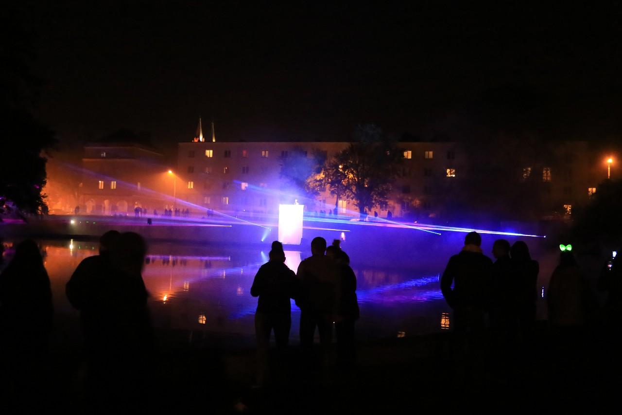 Installations in Staromiejski park. Light Move Festival in Łódź