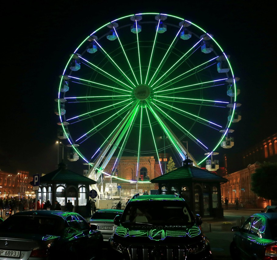 Ferris wheel. Light Move Festival in Łódź